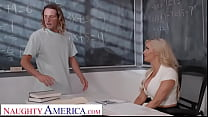 Naughty America - Big tit professor, Linzee Ryder, fucks her aide to relieve stress