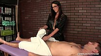 Hot Brunette Masseuse Causes A Big Cumshot