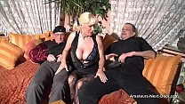 Busty matures threesome with bi guys