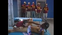 All football team should watch their Quarterback drilling pretty young ebony cheerleader with small tits Marie Luv in the locker room