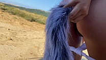 Flashing On The Beach With Fox Tail In My Ass