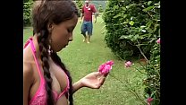 Tattoed dude persuaded innocent looking brunette girl from Brazil Sol De Verao to try Italian fashion on the grass