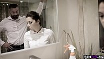 Sexy European housemaid Valentina Nappi just want to do her job but her pervert employer wants her extra services so he fucks her inside the bathroom.