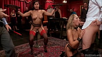 Asian anal fingers blonde at bdsm party