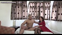 Skinny mature beauty sits her pussy on an big cock Preview