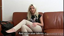 Sexy blonde amateur masturbates and fucks on couch on casting