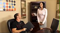 Sunburnt assistant  with big jugs helps her boss to get ready for important summit conference video