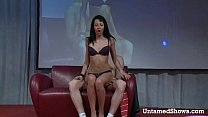 Image: Attractive stripper massages a guys cock on the stage