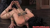 BDSM fetish sub gets hogtied with sticks