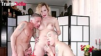 TRANS BELLA - Busty Tranny Raphaela Martins Tries Anal On Cam With Two Big Cock Studs