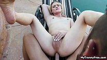 TS blonde gets analed by bfs big cock