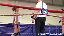 Athletic lezzies wrestling in the boxing ring