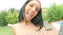 Primecups Natural big tit beauty Kyra hot puts a nice dildo between her tits and