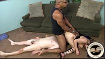 Huge n. cock blasts cum into cuckolds mouth
