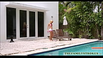 Very Petite Blonde Teen Riley Star Fucked By Her Cousin In The Pool Next To Her Uncle thumbnail