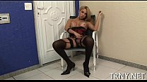Teen transsexual penetrated & creamed