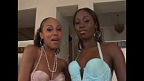 Two ebony lesbians lick twat and fuck both holes with dildos
