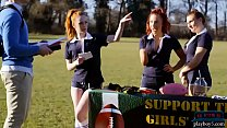 Redhead schoolgirl teen bounces her big ass on a new student preview image