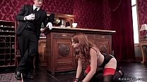 Butler punishing two sexy slaves porn image