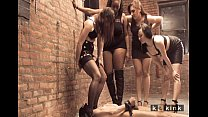 Four femdom mistress pissing on one poor male slave preview image