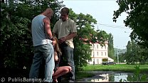 Very hot girl and 2 hung guys PUBLIC threesome
