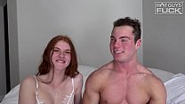 Muscle Jock Loses Virginity to Sexy Ass Red Head.