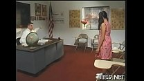 Lustful schoolgirl gives hot blow job and gets her ass banged