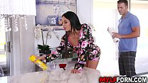 Hot MILF Anissa Kate needs help from her horny stepson and they started a quick sex while daddy is not yet home.
