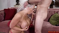 Stepson gets to fuck his horny stepmoms pussy and asshole