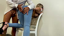 Girl In Ripped Jeans Gets Cumshot On Nice Ass In Tight Jeans
