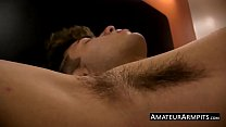 Handsome cock sucker wanks his hairy rod like never before