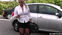Working blonde bbw in stockings spreads legs thumbnail
