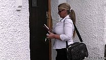Working blonde bbw in stockings spreads legs preview image