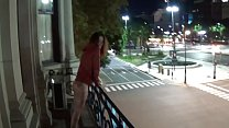 Outdoor public pissing from a balcony in America