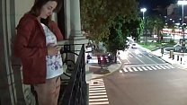 Camilla Moon - outdoor public pissing from a balcony in America (full version)
