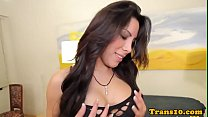 Stockinged latina tgirl anally pounded