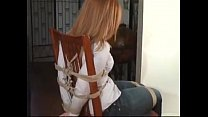Cute little teen redhead forced tied and gagged into chair