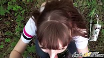 Girlfriend Public Blowjob Cock Student in the Wood - Oral Creampie صورة
