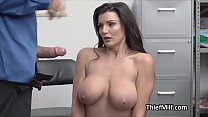 Stealing big tit MILF faces justice at the backoffice