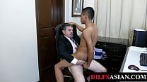 Amateur Asian Breeded By Mature Boss In Office