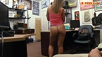 Hot babe with glasses railed by pawn man