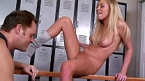 Smoking hot Student in the Locker Room: Slim Blonde in Legwarmers & Sneakers Seduces the Dean