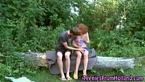 Ginger teen cum outdoor