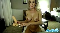 Brandi Love big tits milf deep throating and fucking dildo.