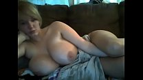 huge natural tits blonde on webcam