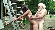 70 year old grandpa fucks 18 year old girl moans with pleasure and swallows صورة