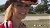 Drilling blonde country babe on backseat Preview