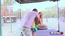 Beautiful Spanish Sicilia gets a cumshot on her big ass in the public [트럭섹스 box truck]