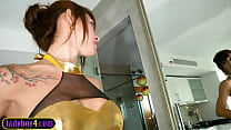 Hung and big tits Asian shemale babe anal fucked bareback