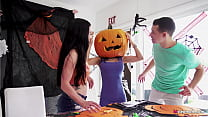 Stepmom's Head Stucked In Halloween Pumpkin, St...